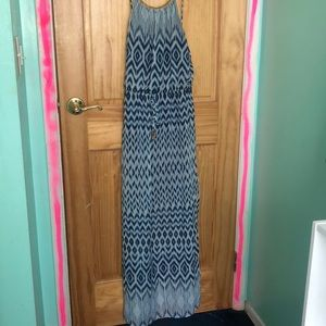 blue maxi dress with gold detailing!